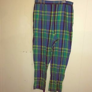 Pants - Light material blue and green stretchy waist pants